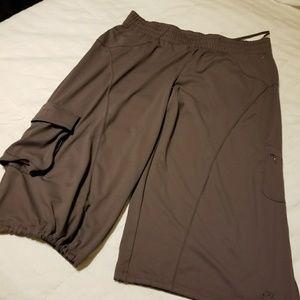 Champion drawstring leg crop workout pants in tan